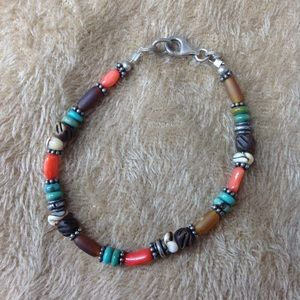 VINTAGE MULTI COLORED 925 BEADED BRACELET